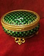 Antique 19th.century Enameled Bronze With Gold Plated Jewelry Box French