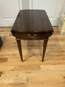 Mahogany Vintage Pembroke Drop Leaf Side Table 1 Drawer, On Casters Exc Cond