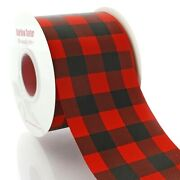 3 Red/black Buffalo Plaid Grosgrain Ribbon For Sewing Crafts Hair-bows Pack