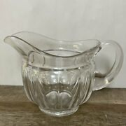 Vintage Heavy Clear Glass Beverage 7andrdquo Pitcher 12 Ribbed Panels Round