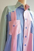 80s Mens Pastel Color Block Button Down Long Sleeve Polo Tailored Patchwork Xl