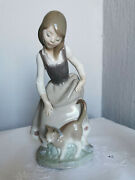 Vintage Lladro, Figures Girl And Cat, Figurines