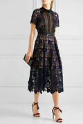 Self Portrait Ladies Maxi Embroidered Bohemian Collared Ruffles Cut Out Dress