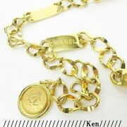 Belt Chain Auth Coco Vintage Rare Logo Gold Cc Necklace Cambon Plate F/s