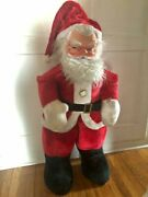 Vintage 1960andrsquos Santa Claus Rubber Face Doll Stands 40andrdquo Tall Fun Christmas Deco