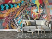 3d Hand-painted Woman Colored Self-adhesive Removeable Wallpaper Wall Mural 1687