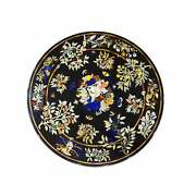 42and039and039 Black Round Marble Table Top Dining Pietra Dura Inlay Bird Room Antique L4