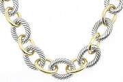 David Yurman Extra Large 23mm Oval Link 925 Silver 18k 750 Yellow Gold Necklace