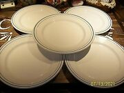 5 Sterling Vitrified China 9-1/8 Dinner Plate Green Stripes East Liverpool Ohio