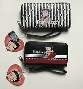 2 Pack Betty Boop Double Zip Wristlet Phone Wallet And Small Wallet Hearts Black