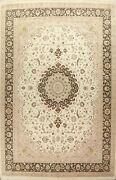 Floral Traditional Oriental Vegetable Dye Area Rug Hand-knotted Ivory Wool 10x14