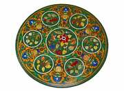 42and039and039 Green Round Marble Table Top Corner Pietra Dura Inlay Home Decor Antique L8