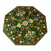 30and039and039 Green Marble Table Top Center Pietra Dura Inlay Home Decor Antique L7