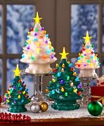 Retro Lighted Tabletop Christmas Tree Decorations Small Or Large White Or Green