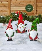 Christmas Gnome Garden Metal Stakes Outdoor Yard Lawn Holiday Home Decorations