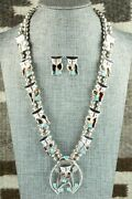 Inlay Owl Necklace And Sterling Silver Earrings Set - Pitkin Natewa