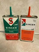 Two Antique Singer Sewing Machine Oil Cans Small Can No Lids