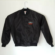 Vintage 80s Ford Racing Satin Embroidered Jacket Size Xl Made In Usa Free Ship