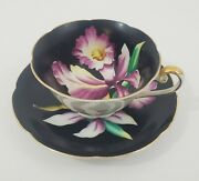 Black Tea Cup And Saucer Lilly Flower Hand Painted Made In Occupied Japan