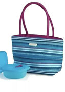 Tupperware Lunch Set Blue Striped Insulated Bag Crystalwave Container Sandwich