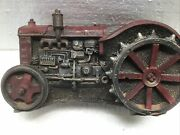 Cast Iron Toy Tractor Solid Iron Steel Wheels 6andrdquol Red Accents Antique Preowned