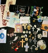 Vintage To Now Religious Jewelry Lot 46 Pieces Nice Variety Of Pieces Italy