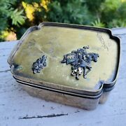 Antique Brass Metal Etched Scenic 3d Horse Asian Art Dynasty Trinket Box W Lid