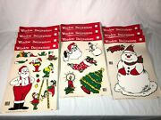 Vintage 1989 Classic Clings Holiday Christmas Window Decorations 10 Pages