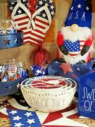 Rae Dunn Fourth 4th Of July Ivory Flag Banner Ceramic 3pc Mixing Bowl Set