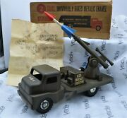 Structo Toys Gmc Coe Cab U.s. Army Green Missile Launcher Truck 1950and039s W/box