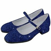 Electric Blue Glitter Print Womenand039s Mary Jane Shoes