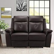 Modern Pu Leather Loveseat Recliner Sofa With Vibration Massage And Heated Sofa