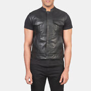 Menand039s Atlas Moto Slim Fit New Style Leather Vest All Size Available