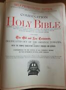 Antique 1800and039s Pictorial Self Pronouncing Holy Bible W/ Leather Cover King James