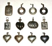 Lot Of 12 Unused Vintage Mexican Sterling Silver Perfume Bottle Pendants I59