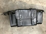 Motorcycle Sissy Bar Luggage Gear Travel Bag Pack Large Black Faux Leather Studs