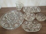 Anchor Hocking Star Of David Vintage Early American Prescut Glassware Lot