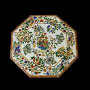 36and039and039 White Marble Table Top Center Corner Lapis Malachite Inlay Bird Antique L9
