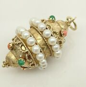Antique Gold Coral Emerald And Pearl Pendant