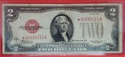 1928-c 2 Us Star Note Red Seal Nicely Circulated - Folded Note 01630110a