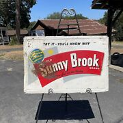 Vintage 1950s Old Sunny Brook Kentucky Whiskey Embossed Painted Metal 36x24 Sign
