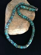 """Native Amercan Navajo Sterling Silver Blue Graduated Turquoise Necklace 19"""" 1754"""