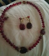Vintage Mariam Haskell Gripoix Red Glass Bead Rhinestone Necklace Earrings