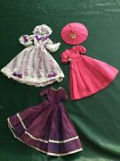 Lot Of 3 Handmade Barbie Doll Gowns And Hats Vintage 60s Good Condition