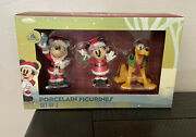 Disney Parks Christmas Mickey Minnie Mouse Pluto Porcelain Figurines New In Box
