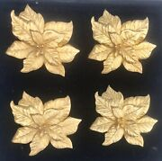 The Ls Collection Set Of 4 Handmade 24kt Gold Plated Poinsettia Napkin Rings
