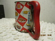 Vtg Androck 3 Screen Flour Sifter Hand-i-sift Great Graphics Baked Goods Red