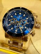 Coalition Forces Men's 52mm Blue Dial Gold Chronograph Watch 32726 Rare