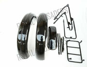New Norton 16h Black Paint Front And Rear Mudguard Set With Complete Stay
