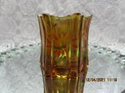 Fenton Glass Amber Carnival Glass Candle Holder W/hp Sunflowers And Bee